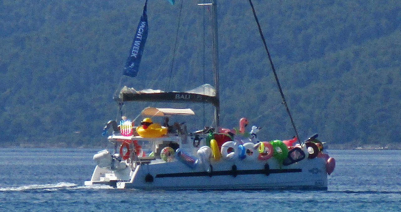 The Yacht Week party flotilla water toys carrier (ridiculous)
